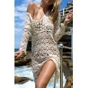 Womens Dress Trendy Hollow out Lace Scalloped Hem Short Regular Fitted Deep V Neck Long Sleeve Beach Cover up Dress