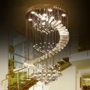Stainless Steel 9/12-Bulb Flush Light Stylish Modern Crystal Spiral Small/Medium/Large Ceiling Mount Light Fixture