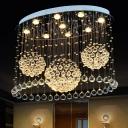 Elliptical Crystal Orb Ceiling Lamp Modernist 9 Lights Dining Room Flush-Mount Light Fixture in Stainless Steel