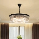 4/8/16 Lights Chandelier Modern Layered Circle Crystal Ceiling Pendant Lamp in Black/Gold for Dining Room