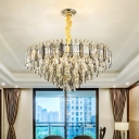 Silver Tiered Tapered Drop Lamp Modern Crystal 6/9/16-Light Bedroom Ceiling Chandelier