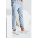 Men's Popular Fashion Simple Plain Straight Slim Fit Casual Pants