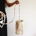 Hand-Weaving Bedside Pendulum Light Bohemian Hemp Rope 1 Head White Ceiling Pendant