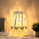 Bohemian Style Hand Knitted Cone Night Lamp Single-Bulb Cotton Roped Table Lighting in Yellow