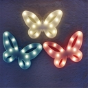 Plastic Butterfly Wall Night Lamp Cartoon Battery Integrated LED Night Light in Pink/White/Blue