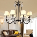 Crystal Black Chandelier Lamp Candlestick 5/6/8-Head Rustic Hanging Light with/without Lampshade