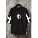 Chic Mens Letter H Patterned 3/4 Sleeves Crew Neck Loose Fit Tee Top
