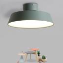 Aluminum Plate Rotatable Semi Flush Light Macaron Grey/White/Green LED Close to Ceiling Lamp, Small/Large