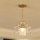 Gold Finish Scroll/Curved Drop Pendant Antiqued Crystal Drape 1-Light Corridor Hanging Light Fixture