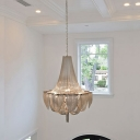 Basket Shaped Living Room Hanging Lamp Aluminum Chain Modernist LED Chandelier Pendant in Silver/Gold