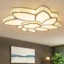 Clear Crystal Flower Flush Ceiling Light Modern Small/Medium/Large LED Flushmount Lighting for Living Room