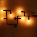 Maze Design Piping Bedroom Wall Lamp Industrial Iron 5/6 Heads Bronze Finish Wall Lighting Ideas