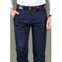 Vintage Mens Business Pants Tencel Thickened Non-Ironing All Match Zipper Fly Regular Fit Long Straight Tailored Pants