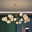Postmodern Bubble Chandelier Clear Starry Glass 6/8/18 Lights Bedroom LED Ceiling Pendant in Gold/Black-Gold