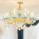 Clear Carved Glass Bowl Chandelier Traditional 6/8/15 Lights Dining Room Hanging Lamp in Gold and Blue