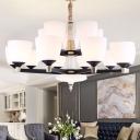10/15/18 Lights White Glass Up Chandelier Minimalist Black Bell Shaped Living Room Ceiling Hang Lamp