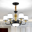 Black Bucket Shaped Ceiling Hang Light Modern 6/8/18 Lights Ivory Glass Chandelier Lamp