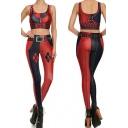 Fancy Women's Co-ords Digital Print Scoop Neck Sleeveless Tank Top with High Waist Skinny Pants Two Piece Set