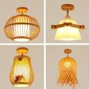 Pear/Fringe/Globe Corridor Flush Light Bamboo 1-Light Asian Semi Flush Mount Ceiling Light in Wood