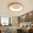 Minimalist Round/Square/Rectangle Ceiling Fixture Acrylic Bedroom LED Flush-Mount Light in Wood, Warm/3 Color Light