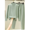 Leisure Women's Set Plain Mock Neck Long-sleeved Brushed Inside Sweatshirt with Elastic Waist Long Pants Co-ords