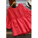 Fashionable Women's Blouse Solid Color Cotton and Linen Pleated Round Neck Banded Cuffs Peplum Pullover Blouse