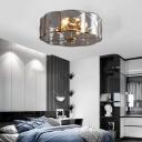 Smoke Grey Glass Scalloped Semi Flush Light Colonial 6 Heads 18