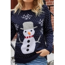 Christmas Series Long Sleeve Round Neck Pom Pom Embellished Cute Cartoon Deer Printed Blue Fitted Sweater