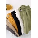 Popular Girls Shorts Solid Color Elastic Waist Relaxed Fit Shorts