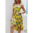 Womens Popular Dress All Over Leaf Pattern Bow-tied Shoulder Ruffled Asymmetric Hem Mid A-line Cami Dress in Yellow