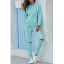 Fashion Girls Set Plain Long Sleeve Pouch Pocket Relaxed Hoodie & Cut Out Ankle Fit Pants Set