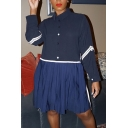 Casual Womens Dress Blue Long Sleeve Point Collar Button Up Tape Patchwork Short Pleated Swing Shirt Dress