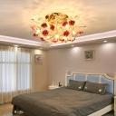 7/10/13 Bulbs Floweret Semi Mount Lighting Romantic Pastoral White/Pink/Blue Ceramic Flush Ceiling Light