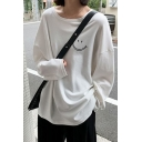 Korean Style T Shirt Solid Smiley Print Long Sleeve Round Neck Loose Tee Top for Ladies