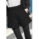Formal Womens Shorts Elastic Waist Solid Color Wide-leg Wool Shorts