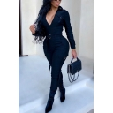 Leisure Womens Jumpsuit Flap Chest Pocket Zip Front Ankle Length Slim Fitted Jumpsuit