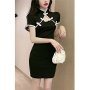 Womens Unique Popular Cutout Front Frog Button Short Sleeve Contrast Trim Black Mini Cheongsam Dress
