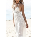 Beach Halter Lace Insert Sleeveless Open Back Maxi Cami Dress