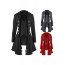 Retro Womens Blazer Solid Color Long Sleeve Double Breasted Asymmetric Hem Lace Trim Longline Relaxed Blazer