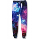 Retro Men's Pants Space Galaxy 3D Print Banded Cuffs Drawstring Waist Ankle Length Sweatpants