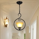 Bell/Flared/Floral Corridor Pendant Light Retro Ivory Glass 1 Head Black Suspension Lamp with Scrolled Arm