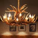 White/Brown Resin Pendant Light Antler 6/8/9 Bulbs Cottage Style Ceiling Chandelier for Restaurant