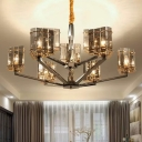 Triangular Chandelier Lighting Postmodern Smoky Glass 6/8/9 Bulbs Black Ceiling Suspension Lamp