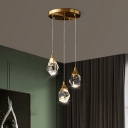 Faceted Crystal Raindrop Pendant Light Postmodern 1/3/5-Head Brass Finish Hanging Lamp in Warm/White Light