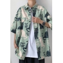 New Fashionable Cat Chinese Letter Print Short Sleeve Single Breasted Loose Fit Casual Shirt