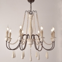 Candle Living Room Hanging Lamp Country Wooden 6/8/12-Head Distressed White Ceiling Chandelier
