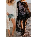 Womens Jacket Fashionable Crochet Lace Regular Fitted Open Front Long Sleeve Longer Length Beach Cover up Jacket