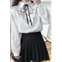 Elegant Women's Shirt Blouse Ruffles Design Contrast Trim Tie Turn-down Collar Long-sleeved Regular Fitted Shirt Blouse
