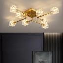 Crystal Brass Finish Semi Flush Light Cubic 4/6/16 Heads Postmodern Ceiling Mount Chandelier