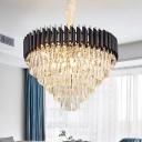 Conical Dining Room Pendant Lighting Simplicity Cut Crystal 10/21/33-Light Black Chandelier